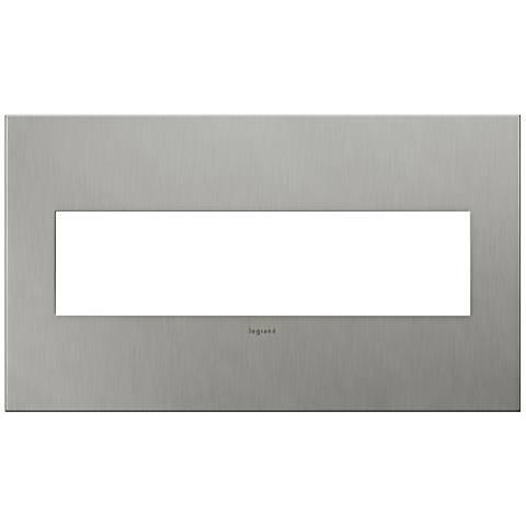 adorne 4 gang brushed stainless steel wall plate 7r225. Black Bedroom Furniture Sets. Home Design Ideas