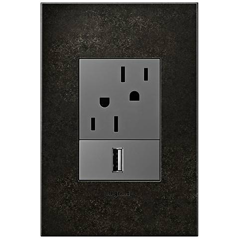 Dark Burnished Pewter 1-Gang+ Cast Metal Wall Plate w/ Outlets
