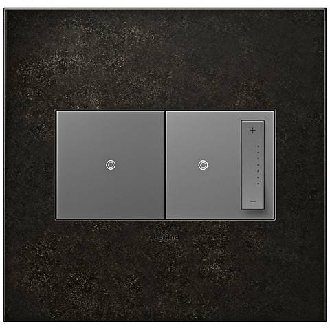 Dark Burnished Pewter 2-Gang Wall Plate w/ Switch and Dimmer