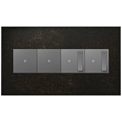 Dark Burnish Pewter 4-Gang Wall Plate w/ 2 Switches and 2 Dimmers