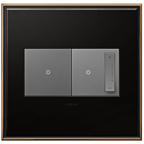 Oil-Rubbed Bronze 2-Gang Metal Wall Plate with Switch and Dimmer