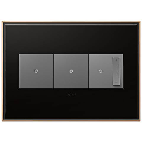 oil rubbed bronze 3 gang wall plate with 2 switches and dimmer 7r244 7r085 6n310 lamps plus. Black Bedroom Furniture Sets. Home Design Ideas
