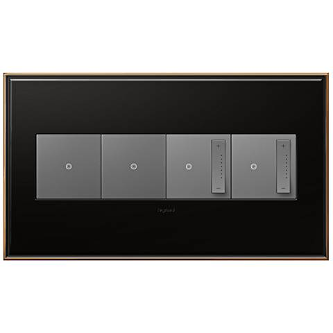 Oil-Rubbed Bronze 4-Gang Wall Plate w/ 2 Switches and 2 Dimmers