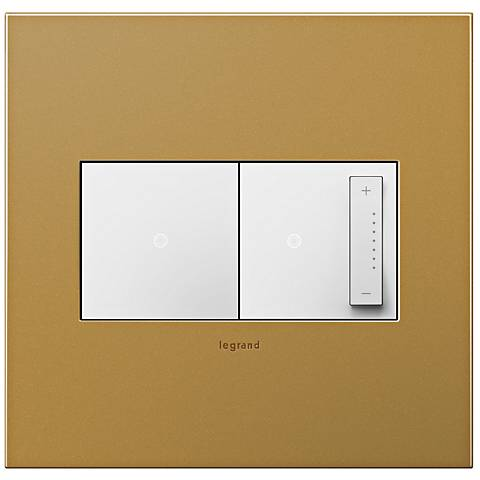 Satin Bronze 2-Gang Cast Metal Wall Plate with Switch and Dimmer