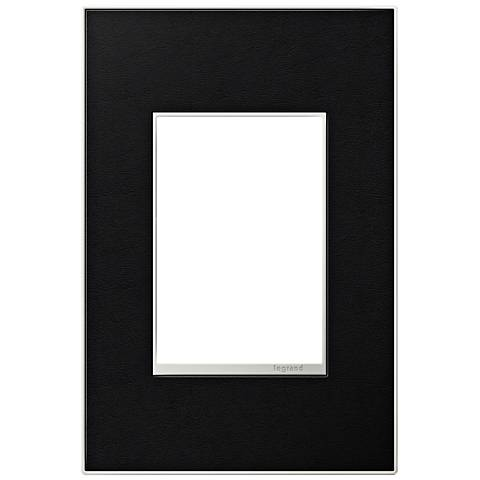 adorne® 1-Gang 3-Module Black Leather Wall Plate