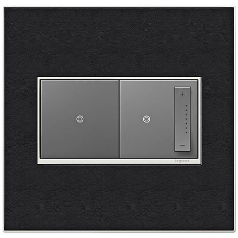 black leather 2 gang real metal wall plate with switch and dimmer 7r257 7r085 6n310 lamps plus. Black Bedroom Furniture Sets. Home Design Ideas