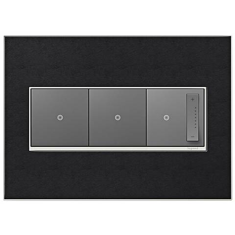 Black Leather 3-Gang Metal Wall Plate with 2 Switches and Dimmer