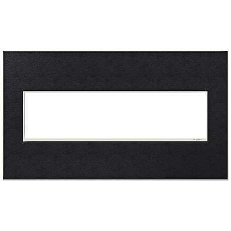 adorne® 4-Gang Black Leather Wall Plate