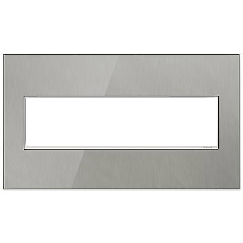 adorne® 4-Gang Brushed Steel Wall Plate