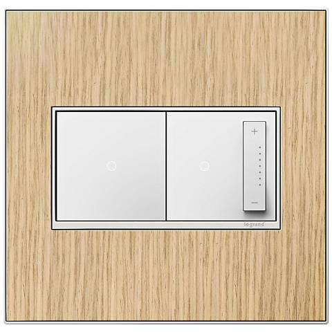 French Oak 2-Gang Real Metal Wall Plate w/ Switch and Dimmer