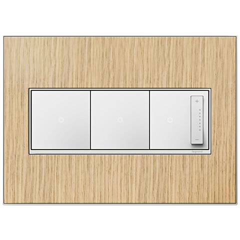 French Oak 3-Gang Real Metal Wall Plate w/ 2 Switches and Dimmer