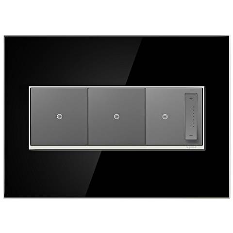 mirror black 3 gang metal wall plate with 2 switches and dimmer 7r278 7r08. Black Bedroom Furniture Sets. Home Design Ideas