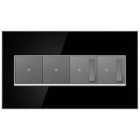 Mirror Black 4-Gang Wall Plate with 2 Switches and 2 Dimmers