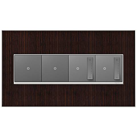 Wenge Wood 4-Gang Metal Wall Plate w/ 2 Switches and 2 Dimmers