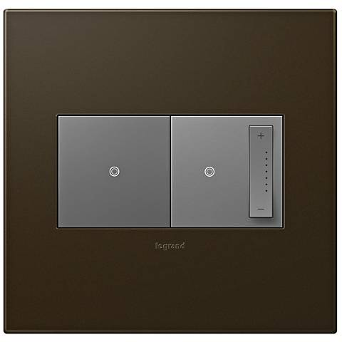 adorne Bronze 2-Gang Wall Plate with Switch and Dimmer