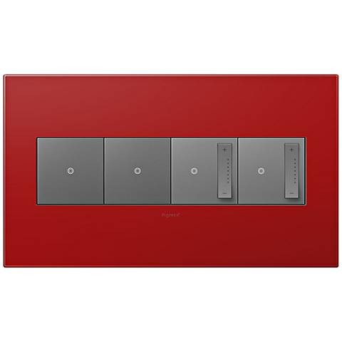 adorne Cherry 4-Gang Wall Plate w/ 2 Switches and 2 Dimmers