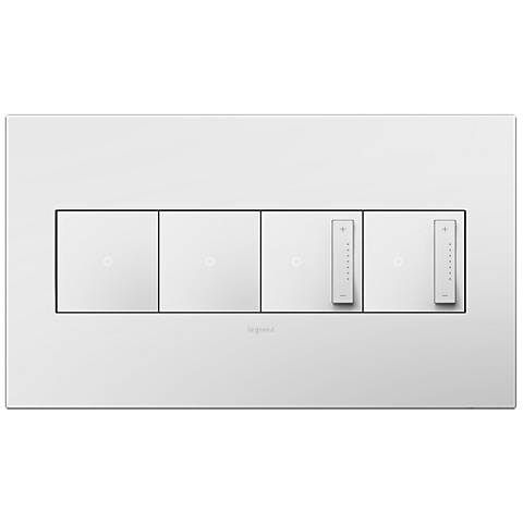 Gloss White 4-Gang Wall Plate with 2 Switches and 2 Dimmers