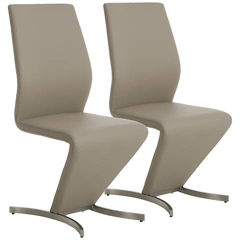 Impacterra Capani Champagne Faux Leather Side Chair Set of 2