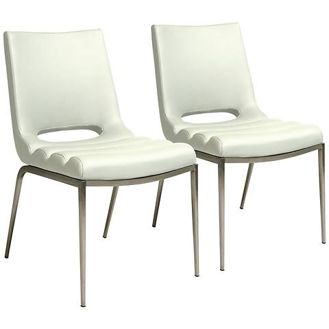Impacterra Emily Ivory Faux Leather Side Chairs Set of 2