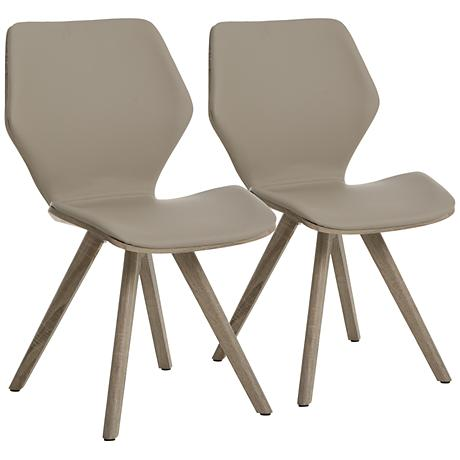 ImpacterraGlasgow Champagne Faux Leather Side Chair Set of 2