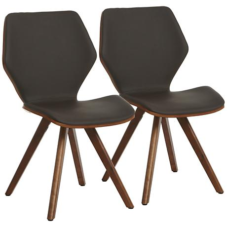 Impacterra Glasgow Coffee Brown Faux Leather Chair Set of 2
