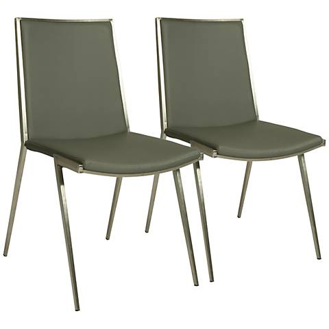 Impacterra Roxanne Gray Faux Leather Side Chair Set of 2