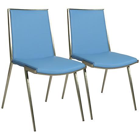 Impacterra Roxanne Light Blue Faux Leather Chair Set of 2
