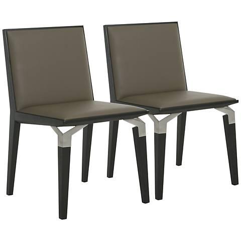 Impacterra Tarifa Taupe Vinyl Side Chair Set of 2