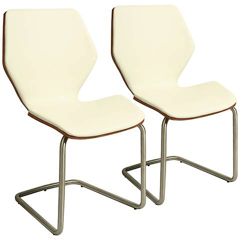 Impacterra Indiana Ivory Faux Leather Side Chair Set of 2