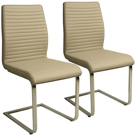 Impacterra Quanto Basta Taupe Faux Leather Chair Set of 2