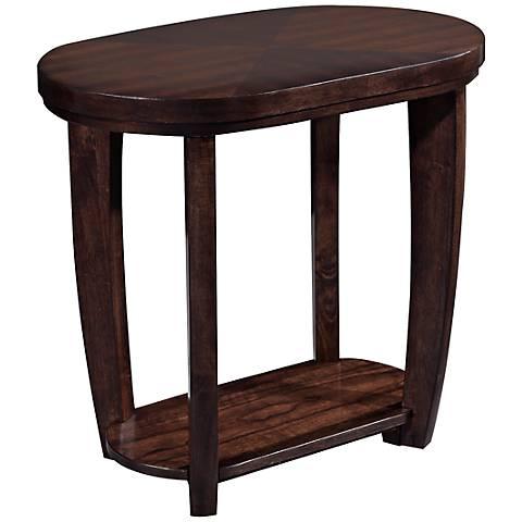 Klaussner Hayden Walnut Oval Chairside Table