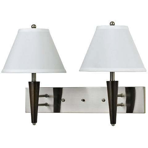 Cal Lighting Steel and Brown Squared 2-Light Wall Lamp