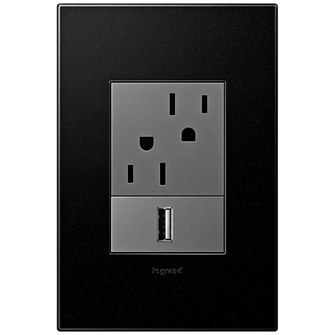adorne Graphite 1-Gang+ Wall Plate w/ Outlets