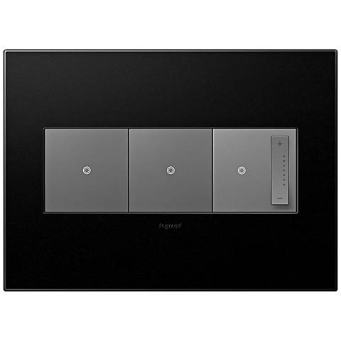 adorne Graphite 3-Gang Wall Plate w/ 2 Switches and Dimmer