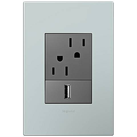 adorne Pale Blue 1-Gang+ Wall Plate w/ Outlets