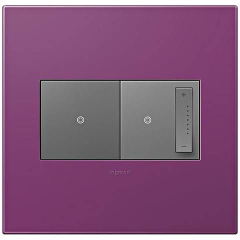 adorne Plum 2-Gang Wall Plate w/ Switch and Dimmer