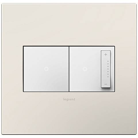 adorne Satin Light Almond 2-Gang Wall Plate w/ Switch and Dimmer