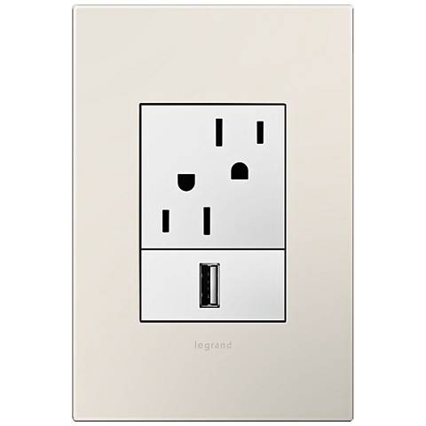 adorne Satin Light Almond 1-Gang+ Wall Plate w/ Outlets