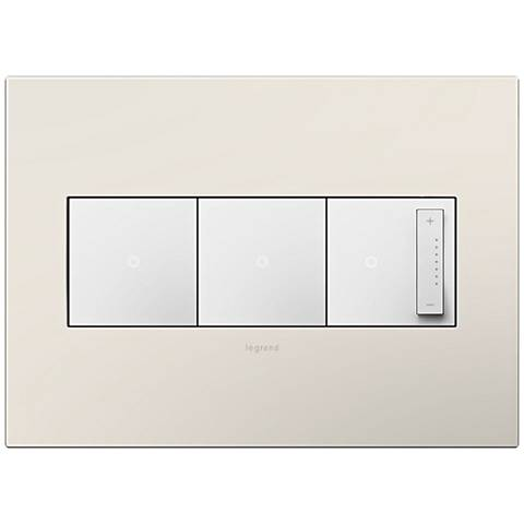 Satin Light Almond 3-Gang Wall Plate w/ 2 Switches and Dimmer