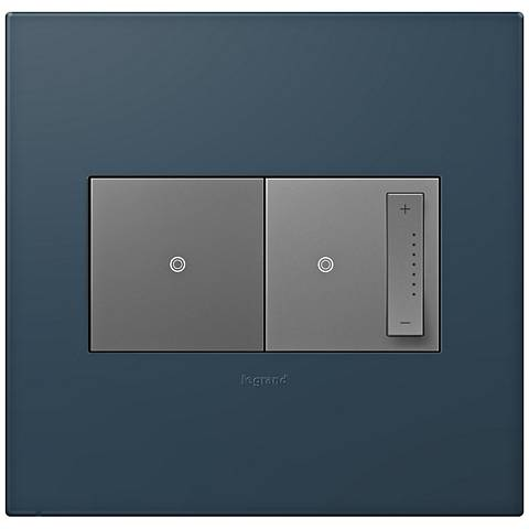 adorne Felt Green 2-Gang Wall Plate w/ Switch and Dimmer