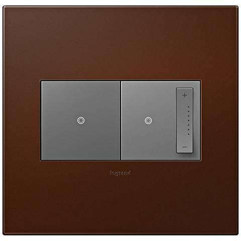 adorne russet 2 gang wall plate w switch and dimmer 7r463 7r085 6n310 l. Black Bedroom Furniture Sets. Home Design Ideas