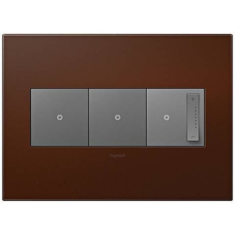adorne Russet 3-Gang Wall Plate w/ 2 Switches and Dimmer