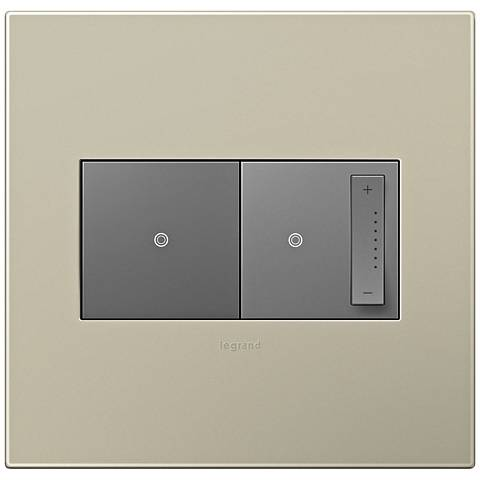 adorne Titanium 2-Gang Wall Plate w/ Switch and Dimmer