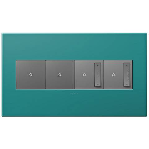 Turquoise Blue 4-Gang Wall Plate w/ 2 Switches and 2 Dimmers