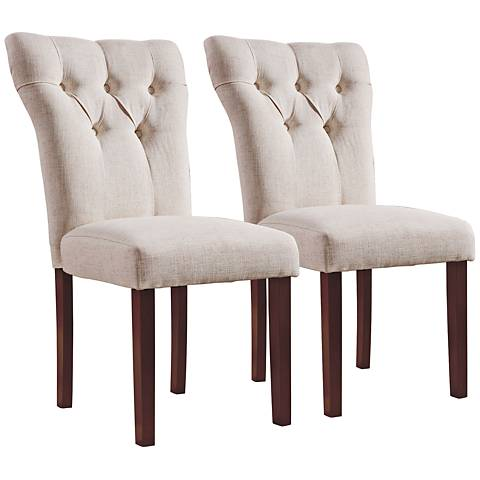 Effie Beige Linen Tufted Side Chair Set of 2