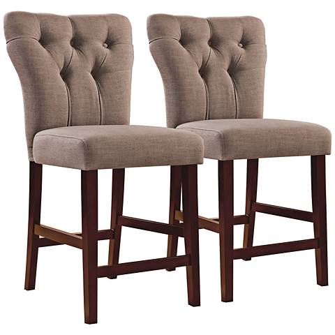 "Effie Light Brown 25"" Tufted Counter Chair Set of 2"