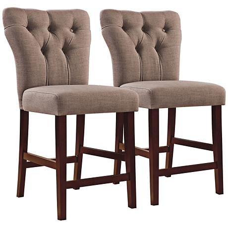 """Effie Light Brown 25"""" Tufted Counter Chair Set of 2"""