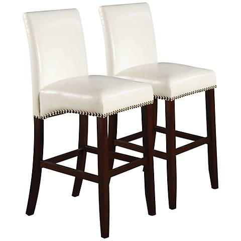 """Jakki White 24"""" Bycast Leather Counter Chair Set of 2"""