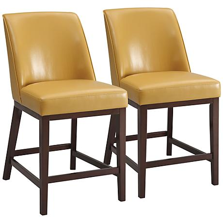 "Valor Yellow Faux Leather 26"" Counter Chair Set of 2"