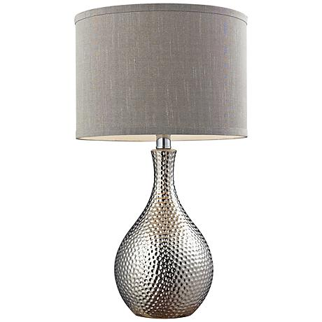 dimond hammered chrome ceramic table lamp 7t002 lamps. Black Bedroom Furniture Sets. Home Design Ideas